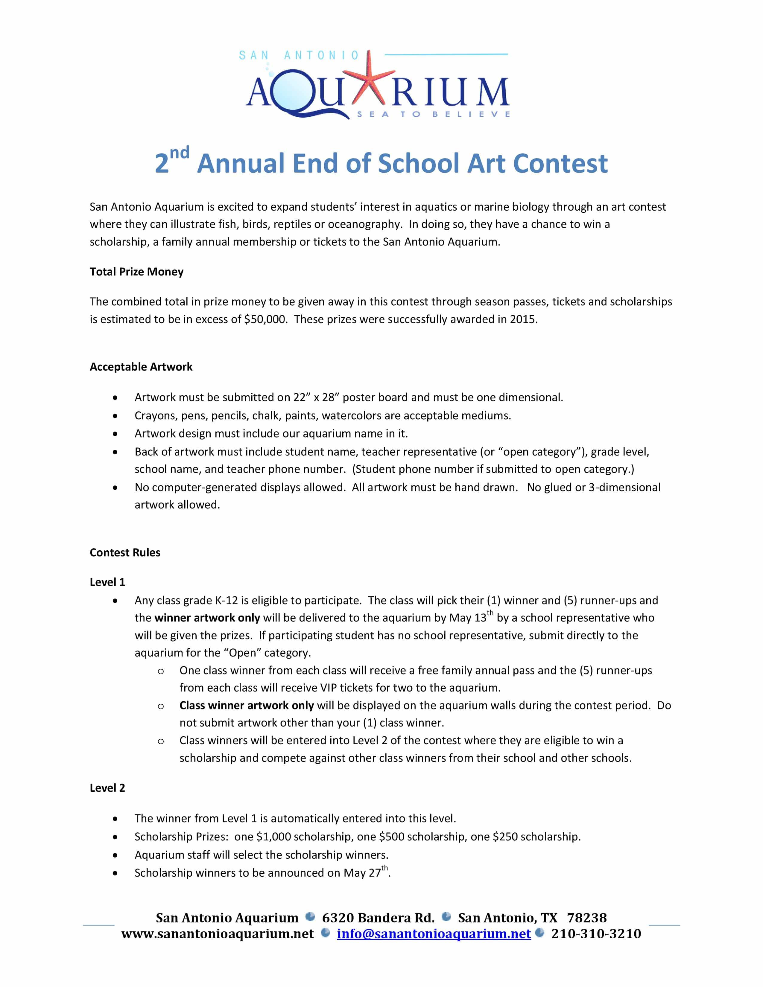 End of School Art Contest School Scholarship Artwork Contest-SAA-2016